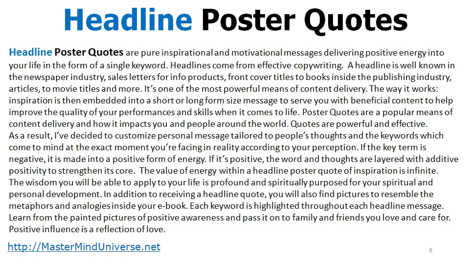 Inspirational Headline Poster Quotes